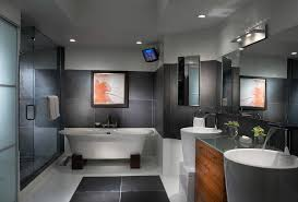 modern pedestal sink bathroom contemporary with bathroom mirror bathroom tv avant garde faucet