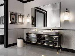 wall sconces bathroom lighting designs artworks: in vogue two rectangle washbasin for black vanities also square wall mirror added pair of vanity wall lights in luxury art deco bathroom designs