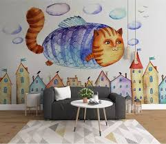 3D Kids <b>Cartoon</b> Flying Fat cat Wallpaper-<b>Nursery</b> Wallpaper