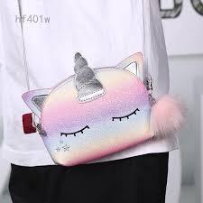 hf401w Cute Unicorn Shiny Sequins <b>Mini Handbag Girls</b> School ...