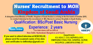 nursesvacancy com nurses recruitment to moh ksa by odepc a delegation from ministry of health kingdom of saudi arabia is arriving in the first week of 2015 to conduct interview for the recruitment of bsc