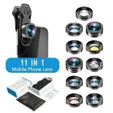 11in1 Phone Camera Lens Kit Fisheye Wide Angle Full grad Filter ...