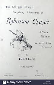title page illustration from a nineteenth century edition of stock photo title page illustration from a nineteenth century edition of robinson crusoe a novel by daniel defoe the book was first published on 25