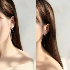 <b>Korean</b> Women Double <b>Geometric</b> Circle Long Drop <b>Dangle</b> Ear ...