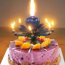<b>Lotus music</b> candle <b>double</b> blossom <b>birthday</b> cake flat bottom ...