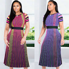 <b>GuyuEra African</b> Dress For Women Good Quality Multi color Striped ...