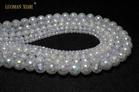 <b>Wholesale Faceted</b> AB Color Snow Cracked Crystal <b>Natural Stone</b> ...
