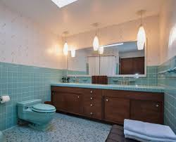 mid century modern bathroom aqua color wall tile design with industrial ceiling lights feat wall mirror bathroom lights mid century