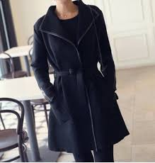 <b>Stylish Turn-Down Neck Long</b> Sleeve Solid Color Belted Women's ...