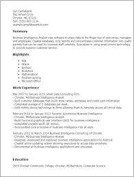 business intelligence analyst resume samples   singlepageresume comresume templates business intelligence analyst summary highlights