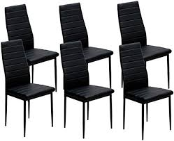 IDS Online <b>6 PCS Set</b> Modern Style with Black PU Leather <b>Dining</b> ...