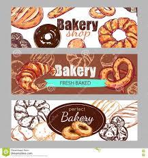 sketch bakery banner set stock vector image  sketch bakery banner set