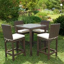 wicker bar height dining table: monza square  piece patio high dining set with off white cushions