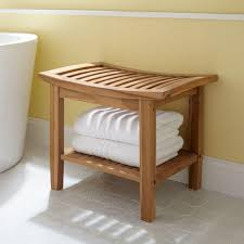 image quarter bamboo bathroom stool resources  l teak shower stool unfinished