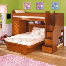 traditional brown stained oak wood platform bunk bed with storage stair and dresser plus open shelf bunk beds desk drawers bunk