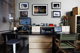 magnificent home office ideas grey interior wall accents with black wooden long desk along white triple black home office chairs