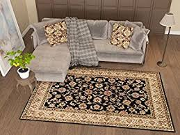 antique classic black 93 x 126 area rug oriental floral motif detailed classic pattern persian living dining room bedroom hallway office carpet easy antique classic black