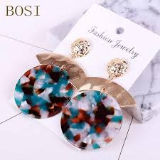 new hot acrylic resin earrings for women vintage geometry exaggeration pendant stud fashion jewelry accessories
