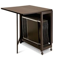 dining table with wheels: folding table with chair storage inside and wheels plus dark brown painted color and made from wood ideas