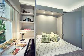 central london apartment small transitional guest bedroom idea in london with gray walls space saving single bed bedroom wall bed space saving