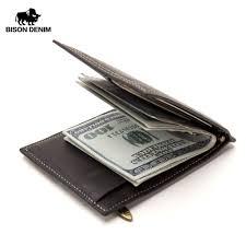 <b>BISON DENIM Cow Leather</b> Wallet Men Money Purse With Zipper ...