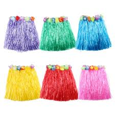 <b>10 Colors 1PCS</b> Plastic Fibers Kid Grass Skirts Hula Skirt Hawaiian ...