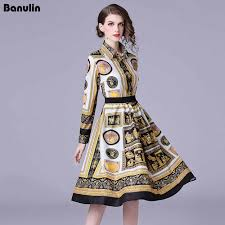 <b>Banulin</b> Autumn Women Pleated Dresses Runway 2018 <b>High</b> ...