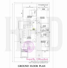 Floor plan and elevation of modern Indian house design   Kerala    Basement floor Ground floor plan