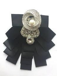 Black Satin Rhinestone Crystal Wedding <b>Pearl Bow</b> Tie Neck Tie ...
