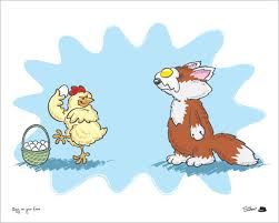 Chicken throwing an egg at a fox's face