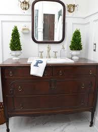 turn a vintage dresser into a bathroom vanity decorating home garden television beautiful home furniture ideas vintage vanity