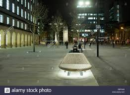 bench with lighting underneath in st peters square manchester england uk the cenotaph floodlit in the distance bench lighting