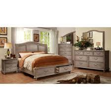 piece emmaline upholstered panel bedroom: furniture of america minka iii rustic grey  piece bedroom set