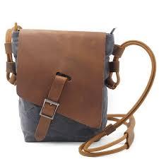 Ekphero <b>Genuine Leather</b> Canvas Shoulder Bags Casual Belt ...