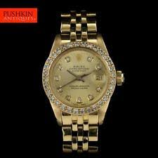 rolex oyster perpetual wristwatches genuine rolex 18k gold diamonds oyster perpetual datejust ladies watch 6917