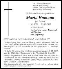 Traueranzeige, Todesanzeige von Maria Homann aus Ascheberg. - teaser4_wna_6037015