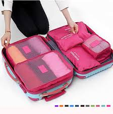6Pcs Waterproof Cube <b>Travel Storage Bags</b> Clothes Pouch Nylon ...