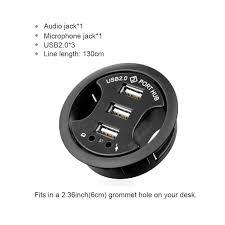 LEEHUR 3 in 1 USB HUB Tabletop with Wired USB HUB Desk ...