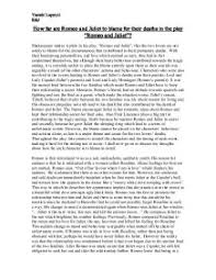 how far are romeo and juliet to blame for their deaths in the play    page  zoom in