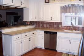 painted kitchen cabinets vintage cream: gallery of stunning white painting kitchen cabinets ideas with small kitchen island also vintage back kitchen stools on brown laminate wooden floor and