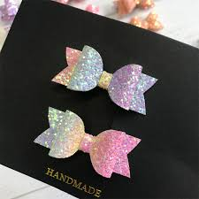 2pcs Handmade Mini Sequins Litlle <b>Girls Hair Bows</b> Clips Shiny ...