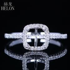 <b>HELON</b> 6x6mm Cushion Solid 14K White Gold <b>Pave</b> 0.2ct <b>Natural</b> ...