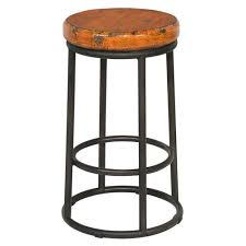 "24"" Tall <b>Bar Stool Solid Reclaimed</b> Pine Seat Orange Round Black ..."