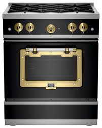 black appliance matte seamless kitchen:  series classic stove matte black with brushed brass industrial gas ranges