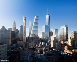 the design for wtc and the dangers of building neighborhoods in rendering of 2 wtc as seen from tribeca image by dbox