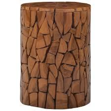 LYUMO Mosaic <b>Stool Brown Solid Teak</b> Wood - Walmart.com ...