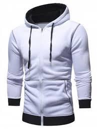 Hooded Color Spliced <b>Zipper Hoodie</b> | shirt in 2019 | <b>Hoodies</b>, White ...