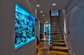 Modern Home Ideas With Unique Floating Stairs Using Charming Interior Lighting And Amazing Fish Tank  O