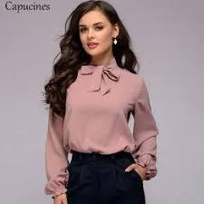 Capucines Elegant Bow Tie Women Shirt 2019 Spring Ladies ... - Vova