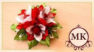 <b>Зажим для волос</b>. Цветы. Канзаши. МК./ DIY. Flowers. Kanzashi ...